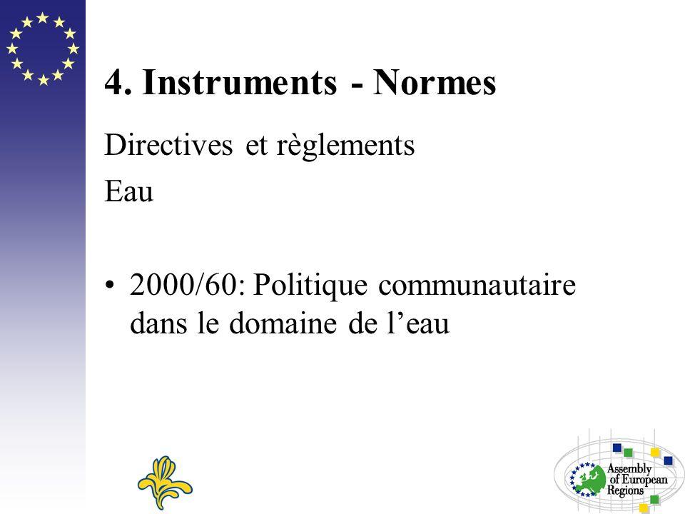 4. Instruments - Normes Directives et règlements Eau 2000/60: Politique communautaire dans le domaine de leau