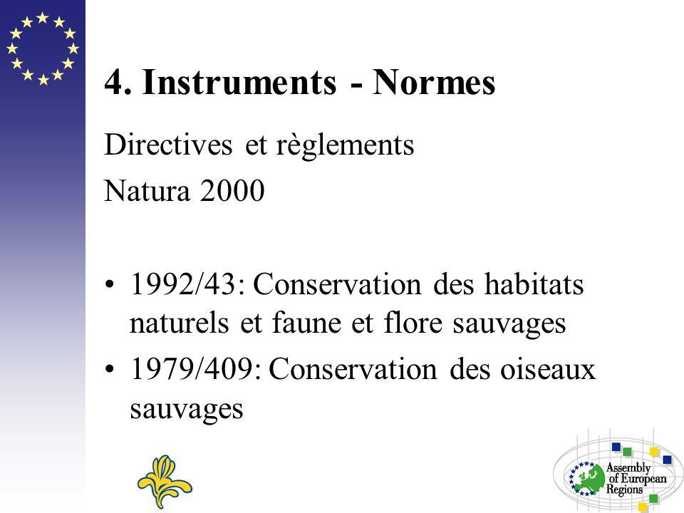 4. Instruments - Normes Directives et règlements Natura 2000 1992/43: Conservation des habitats naturels et faune et flore sauvages 1979/409: Conserva