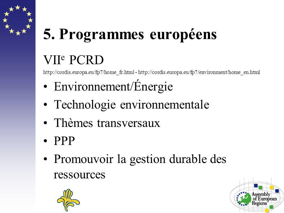 5. Programmes européens VII e PCRD http://cordis.europa.eu/fp7/home_fr.html - http://cordis.europa.eu/fp7/environment/home_en.html Environnement/Énerg