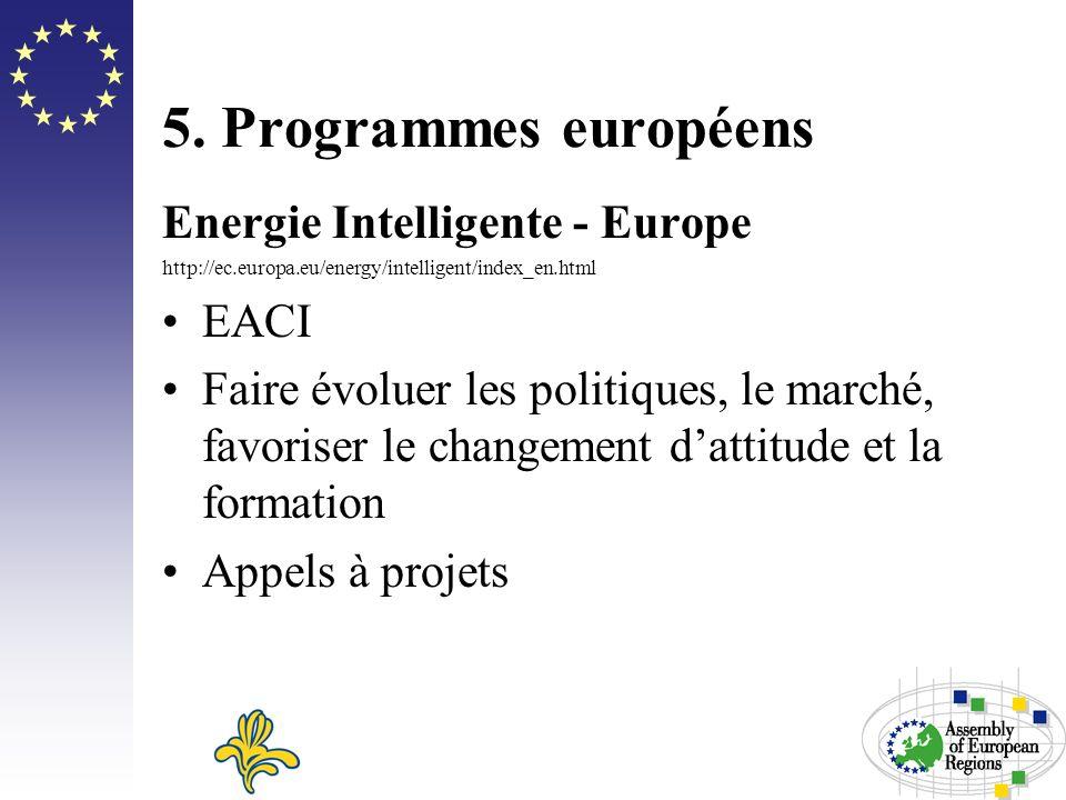 5. Programmes européens Energie Intelligente - Europe http://ec.europa.eu/energy/intelligent/index_en.html EACI Faire évoluer les politiques, le march