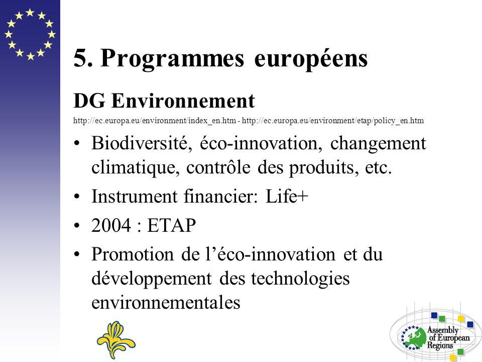 5. Programmes européens DG Environnement http://ec.europa.eu/environment/index_en.htm - http://ec.europa.eu/environment/etap/policy_en.htm Biodiversit