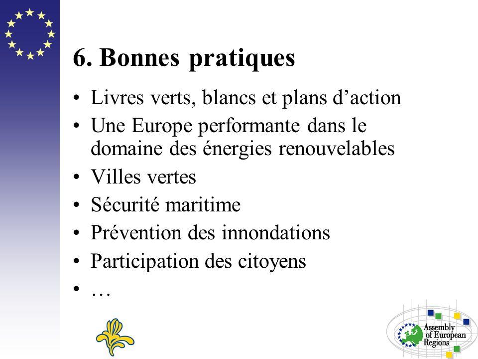 6. Bonnes pratiques Livres verts, blancs et plans daction Une Europe performante dans le domaine des énergies renouvelables Villes vertes Sécurité mar
