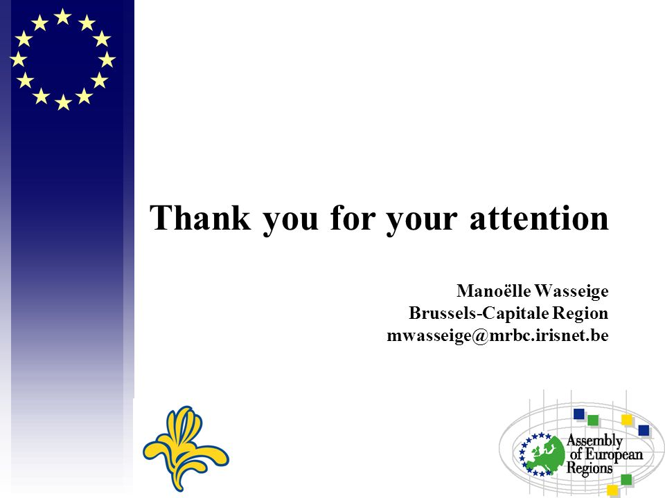 Thank you for your attention Manoëlle Wasseige Brussels-Capitale Region mwasseige@mrbc.irisnet.be