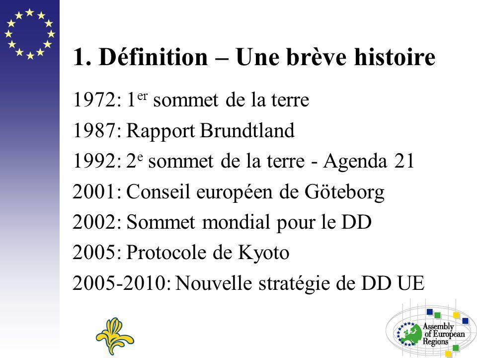 1. Définition – Une brève histoire 1972: 1 er sommet de la terre 1987: Rapport Brundtland 1992: 2 e sommet de la terre - Agenda 21 2001: Conseil europ