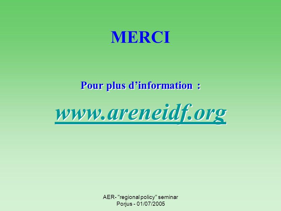 AER- regional policy seminar Porjus - 01/07/2005 MERCI Pour plus dinformation : www.areneidf.org Pour plus dinformation : www.areneidf.org