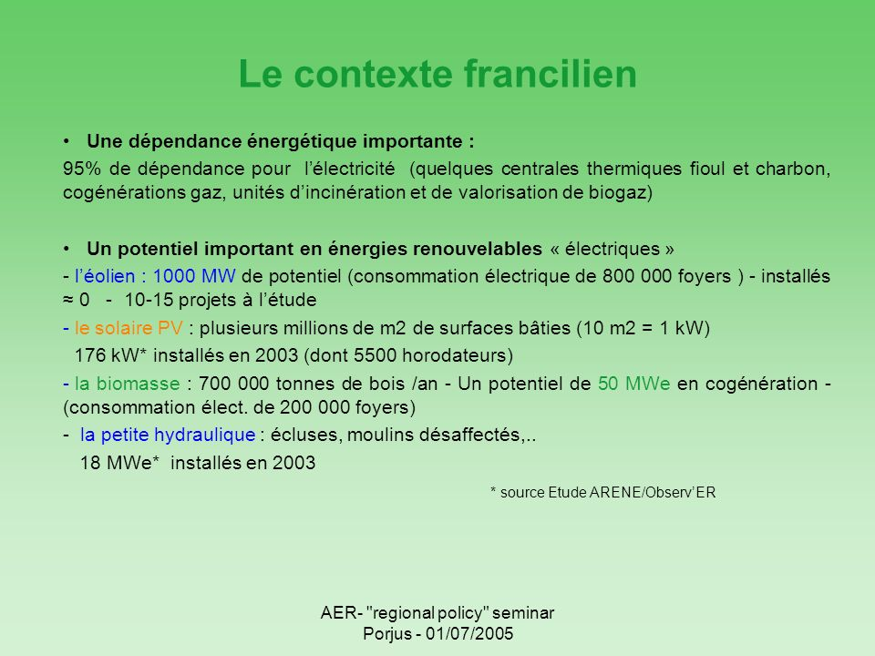 AER- regional policy seminar Porjus - 01/07/2005 Le contexte francilien Une dépendance énergétique importante : 95% de dépendance pour lélectricité (quelques centrales thermiques fioul et charbon, cogénérations gaz, unités dincinération et de valorisation de biogaz) Un potentiel important en énergies renouvelables « électriques » - léolien : 1000 MW de potentiel (consommation électrique de 800 000 foyers ) - installés 0 - 10-15 projets à létude - le solaire PV : plusieurs millions de m2 de surfaces bâties (10 m2 = 1 kW) 176 kW* installés en 2003 (dont 5500 horodateurs) - la biomasse : 700 000 tonnes de bois /an - Un potentiel de 50 MWe en cogénération - (consommation élect.