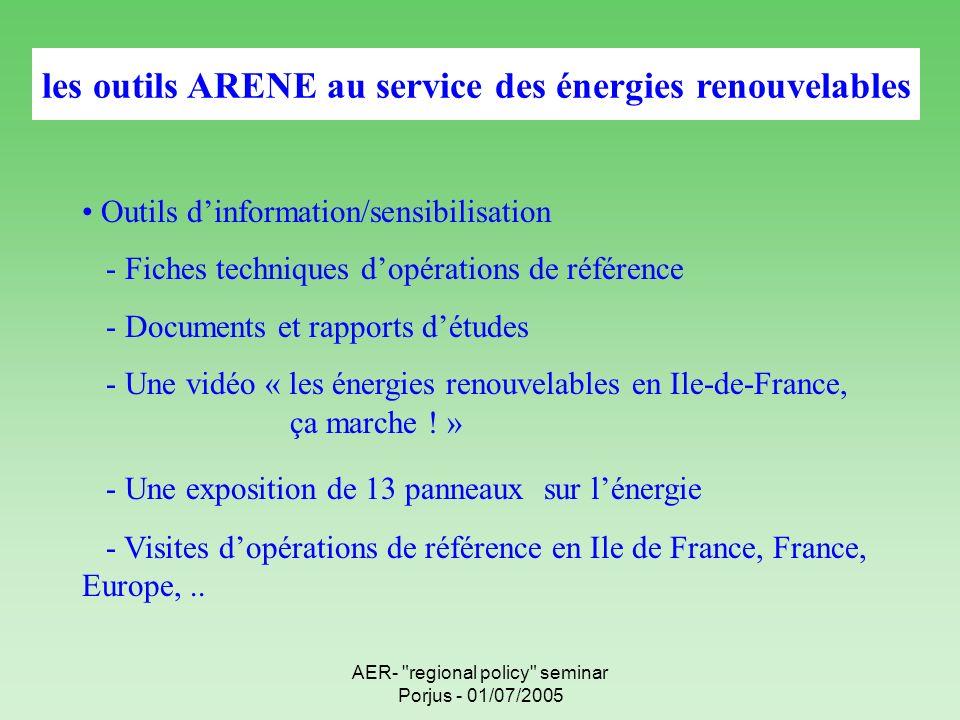AER- regional policy seminar Porjus - 01/07/2005 les outils ARENE au service des énergies renouvelables Outils dinformation/sensibilisation - Fiches techniques dopérations de référence - Documents et rapports détudes - Une vidéo « les énergies renouvelables en Ile-de-France, ça marche .