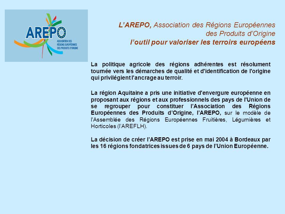 LAREPO, Association des Régions Européennes des Produits dOrigine loutil pour valoriser les terroirs européens La politique agricole des régions adhér