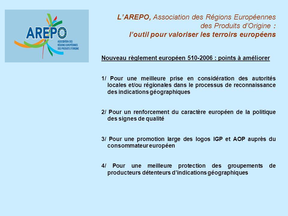 LAREPO, Association des Régions Européennes des Produits dOrigine : loutil pour valoriser les terroirs européens Nouveau règlement européen 510-2006 :