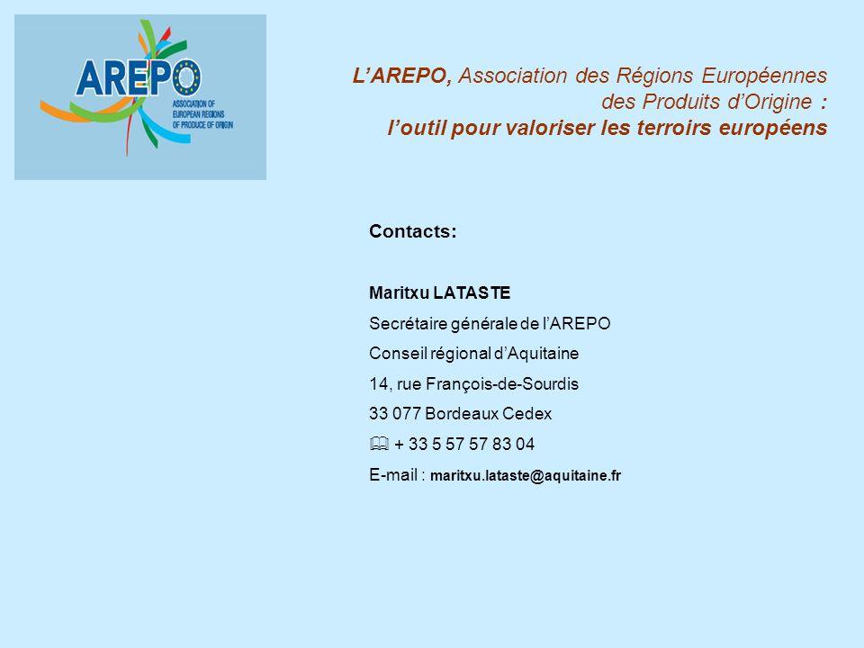 Contacts: Maritxu LATASTE Secrétaire générale de lAREPO Conseil régional dAquitaine 14, rue François-de-Sourdis 33 077 Bordeaux Cedex & + 33 5 57 57 8