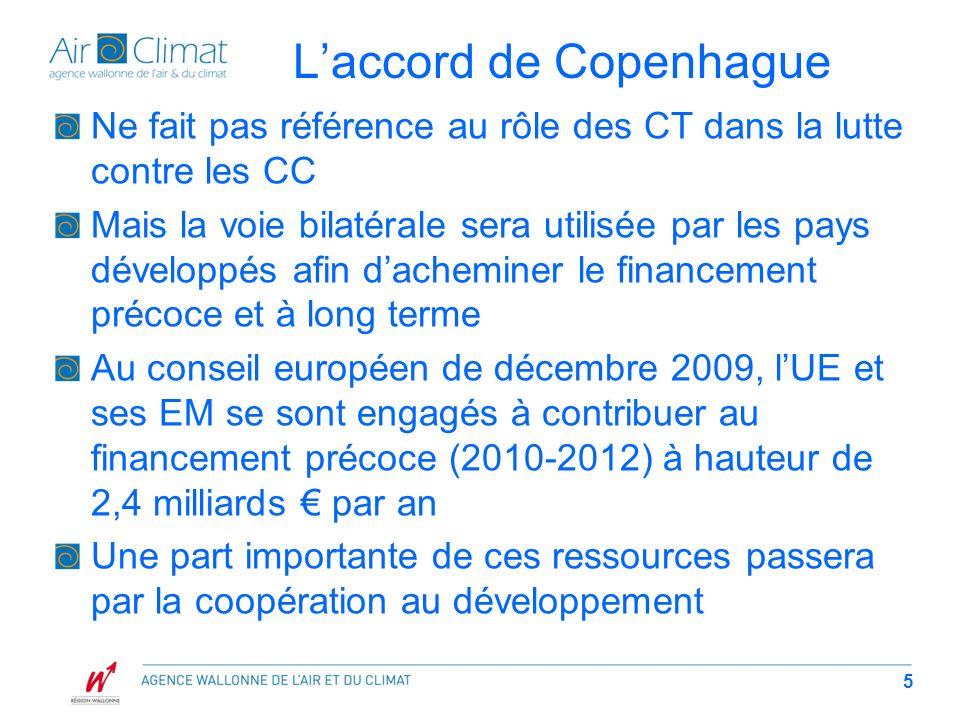 Laccord de Copenhague Ne fait pas référence au rôle des CT dans la lutte contre les CC Mais la voie bilatérale sera utilisée par les pays développés afin dacheminer le financement précoce et à long terme Au conseil européen de décembre 2009, lUE et ses EM se sont engagés à contribuer au financement précoce (2010-2012) à hauteur de 2,4 milliards par an Une part importante de ces ressources passera par la coopération au développement 5