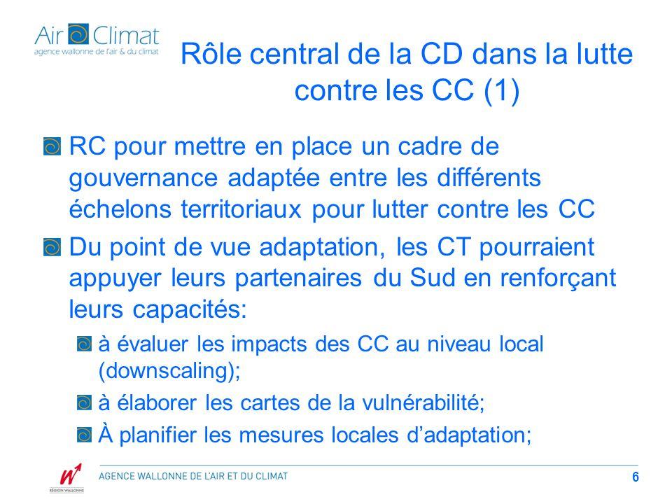 Rôle central de la CD dans la lutte contre les CC (2) À intégrer ces mesures dadaptation dans les plans de développement locaux; A formuler les projets/programmes éligibles aux mécanismes financiers internationaux.