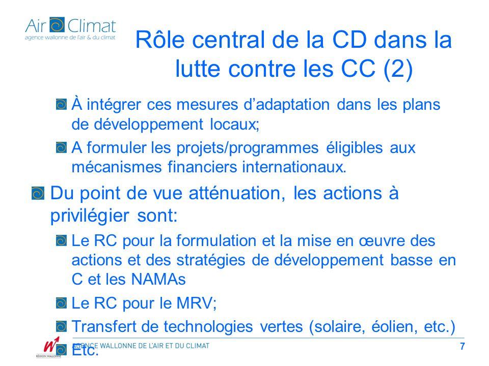 Rôle central de la CD dans la lutte contre les CC (2) À intégrer ces mesures dadaptation dans les plans de développement locaux; A formuler les projet