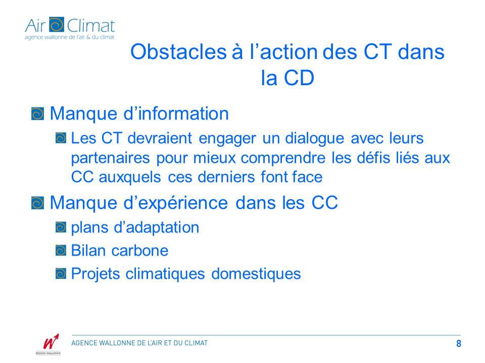 Obstacles à laction des CT dans la CD Manque dinformation Les CT devraient engager un dialogue avec leurs partenaires pour mieux comprendre les défis liés aux CC auxquels ces derniers font face Manque dexpérience dans les CC plans dadaptation Bilan carbone Projets climatiques domestiques 8