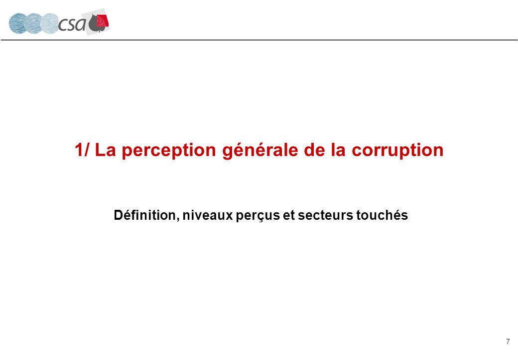 7 1/ La perception générale de la corruption Définition, niveaux perçus et secteurs touchés