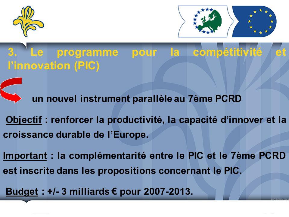 3. Le programme pour la compétitivité et linnovation (PIC) un nouvel instrument parallèle au 7ème PCRD Objectif : renforcer la productivité, la capaci