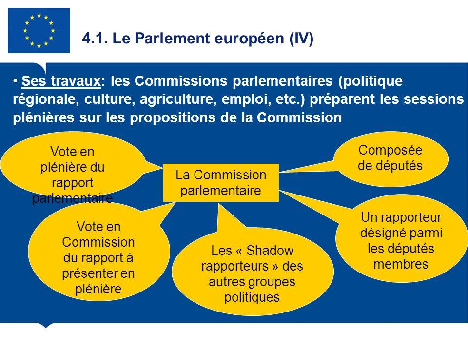 4.1. Le Parlement européen (IV) Ses travaux: les Commissions parlementaires (politique régionale, culture, agriculture, emploi, etc.) préparent les se