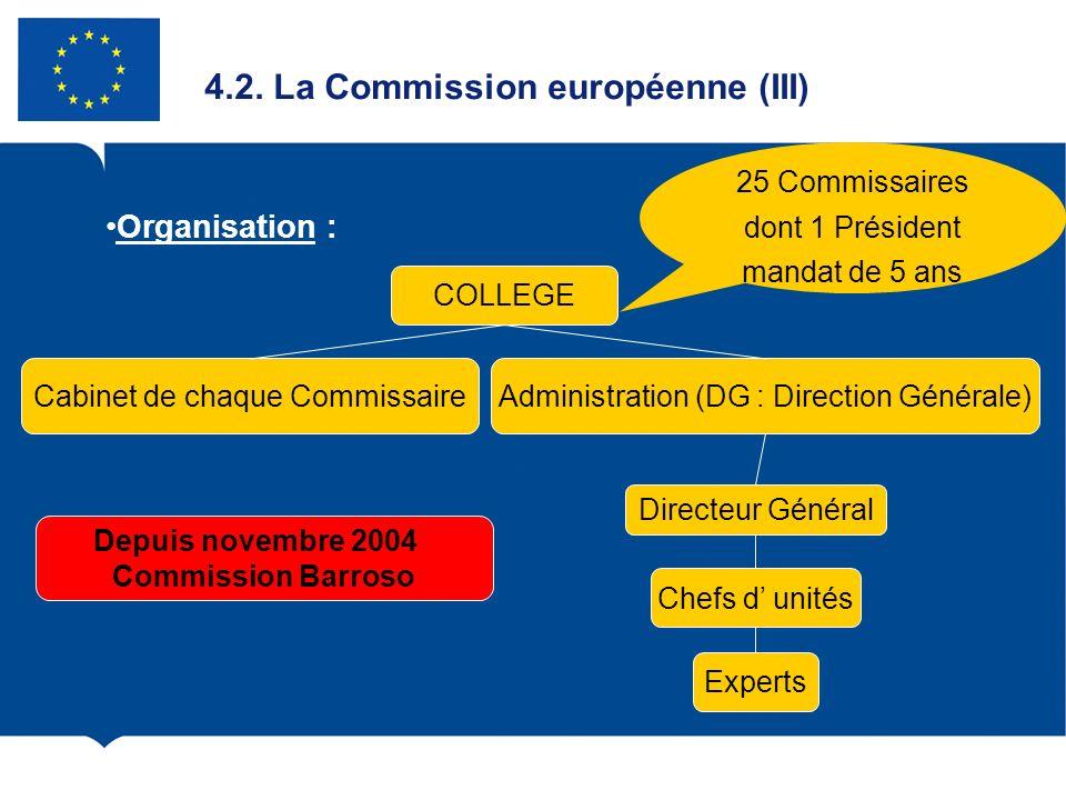 4.2. La Commission européenne (III) Organisation : COLLEGE Administration (DG : Direction Générale)Cabinet de chaque Commissaire Directeur Général Che