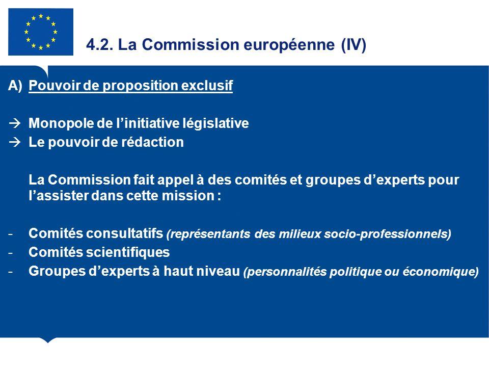 4.2. La Commission européenne (IV) A)Pouvoir de proposition exclusif Monopole de linitiative législative Le pouvoir de rédaction La Commission fait ap