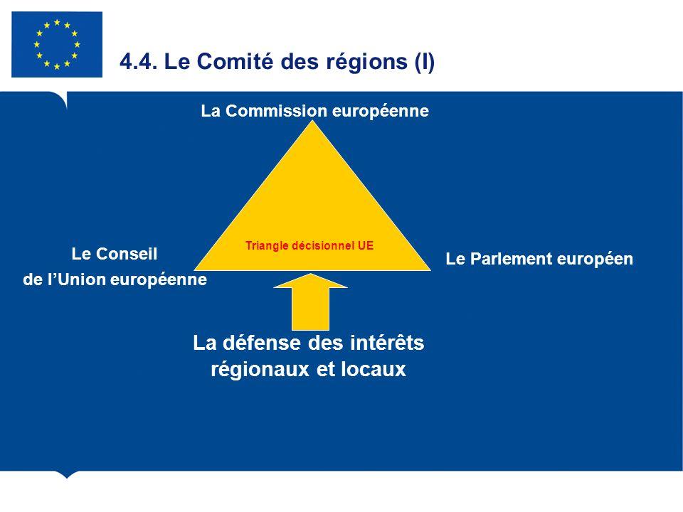 4.4. Le Comité des régions (I) Le Conseil de lUnion européenne Le Parlement européen La Commission européenne La défense des intérêts régionaux et loc
