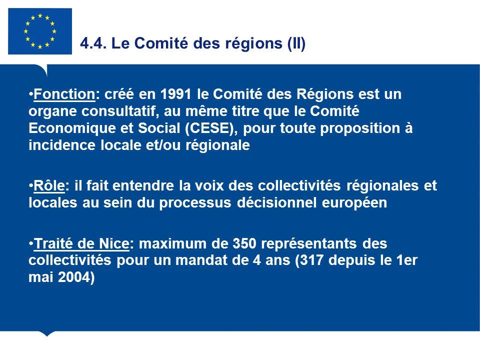 4.4. Le Comité des régions (II) Fonction: créé en 1991 le Comité des Régions est un organe consultatif, au même titre que le Comité Economique et Soci
