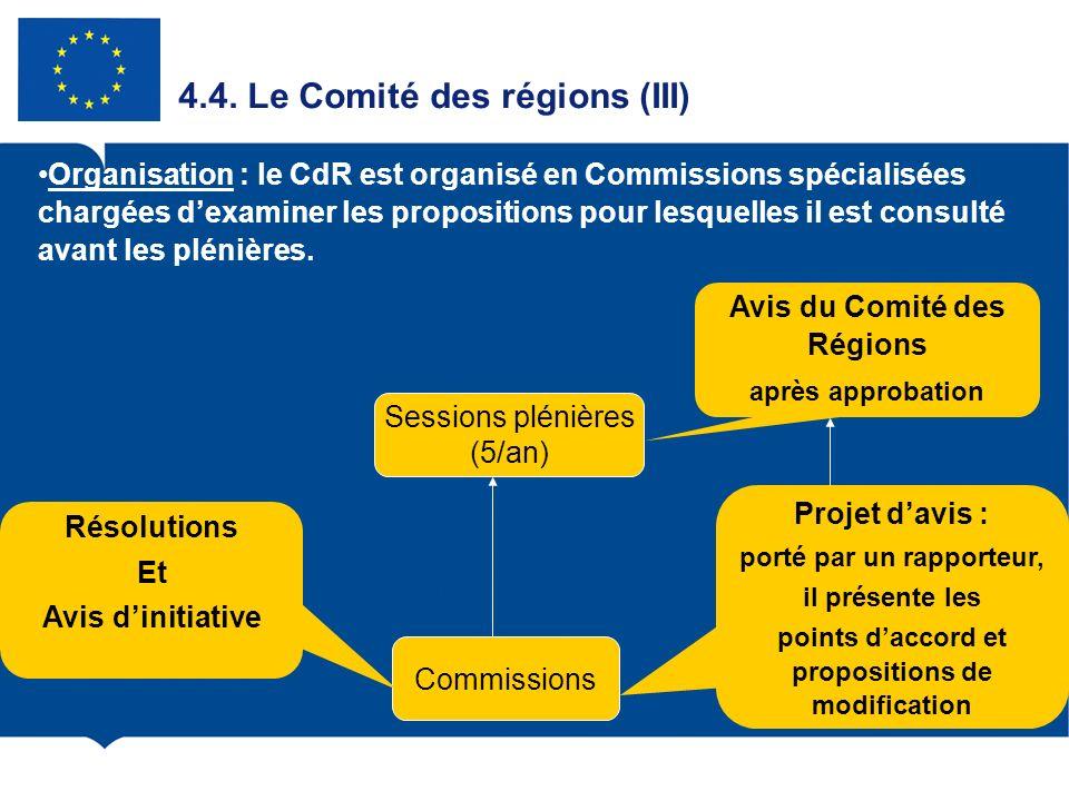 4.4. Le Comité des régions (III) Sessions plénières (5/an) Commissions Projet davis : porté par un rapporteur, il présente les points daccord et propo
