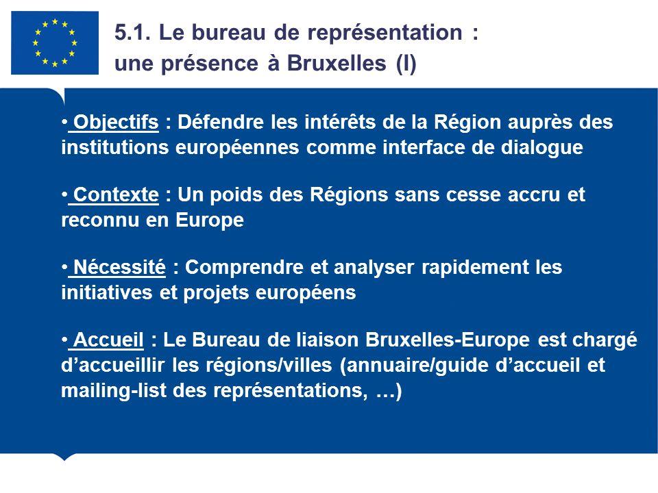 5.1. Le bureau de représentation : une présence à Bruxelles (I) Objectifs : Défendre les intérêts de la Région auprès des institutions européennes com