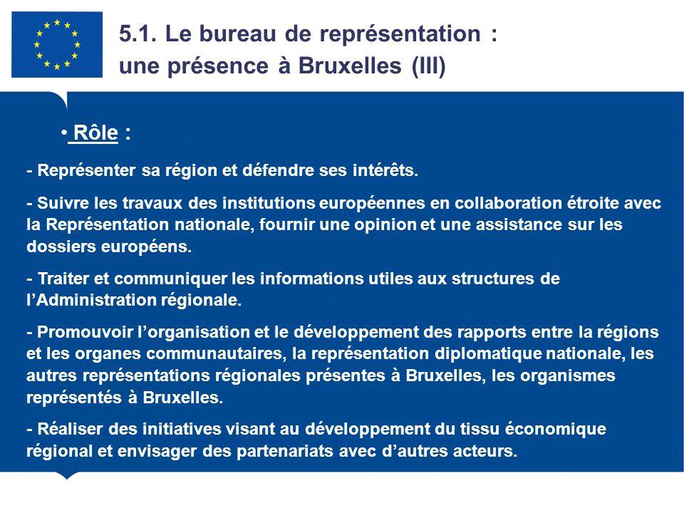 4.1. Le bureau de représentation : une présence à Bruxelles (III) Rôle : - Représenter sa région et défendre ses intérêts. - Suivre les travaux des in