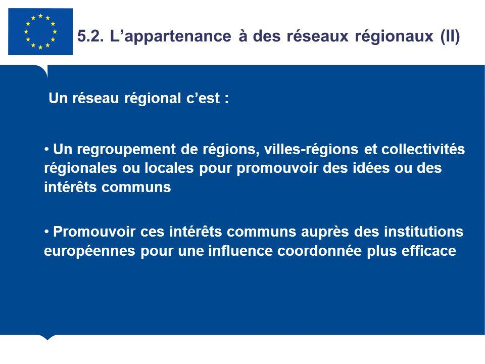 Un regroupement de régions, villes-régions et collectivités régionales ou locales pour promouvoir des idées ou des intérêts communs Promouvoir ces int