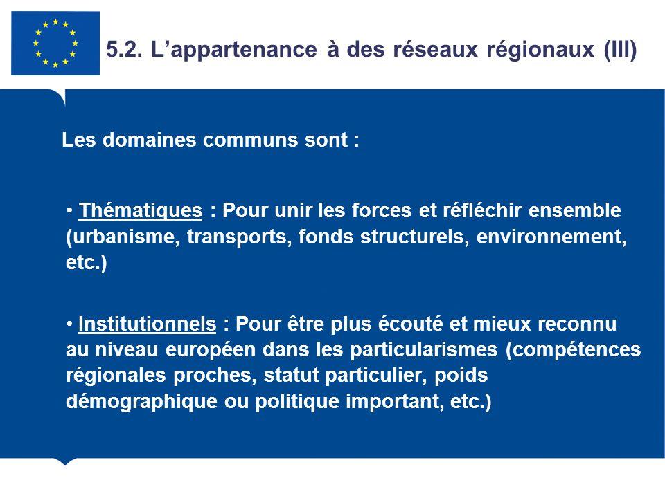 Thématiques : Pour unir les forces et réfléchir ensemble (urbanisme, transports, fonds structurels, environnement, etc.) Institutionnels : Pour être p