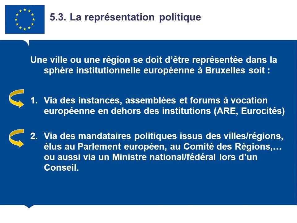 5.3. La représentation politique Une ville ou une région se doit dêtre représentée dans la sphère institutionnelle européenne à Bruxelles soit : 1.Via