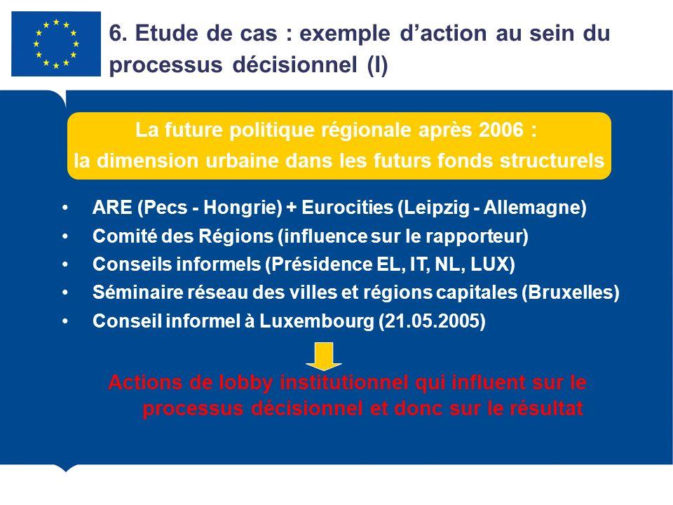6. Etude de cas : exemple daction au sein du processus décisionnel (I) ARE (Pecs - Hongrie) + Eurocities (Leipzig - Allemagne) Comité des Régions (inf