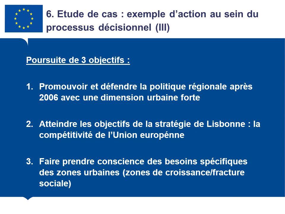Poursuite de 3 objectifs : 1.Promouvoir et défendre la politique régionale après 2006 avec une dimension urbaine forte 2.Atteindre les objectifs de la