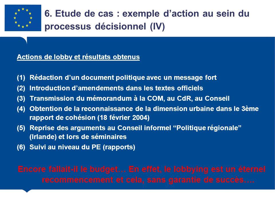 Actions de lobby et résultats obtenus (1)Rédaction dun document politique avec un message fort (2)Introduction damendements dans les textes officiels