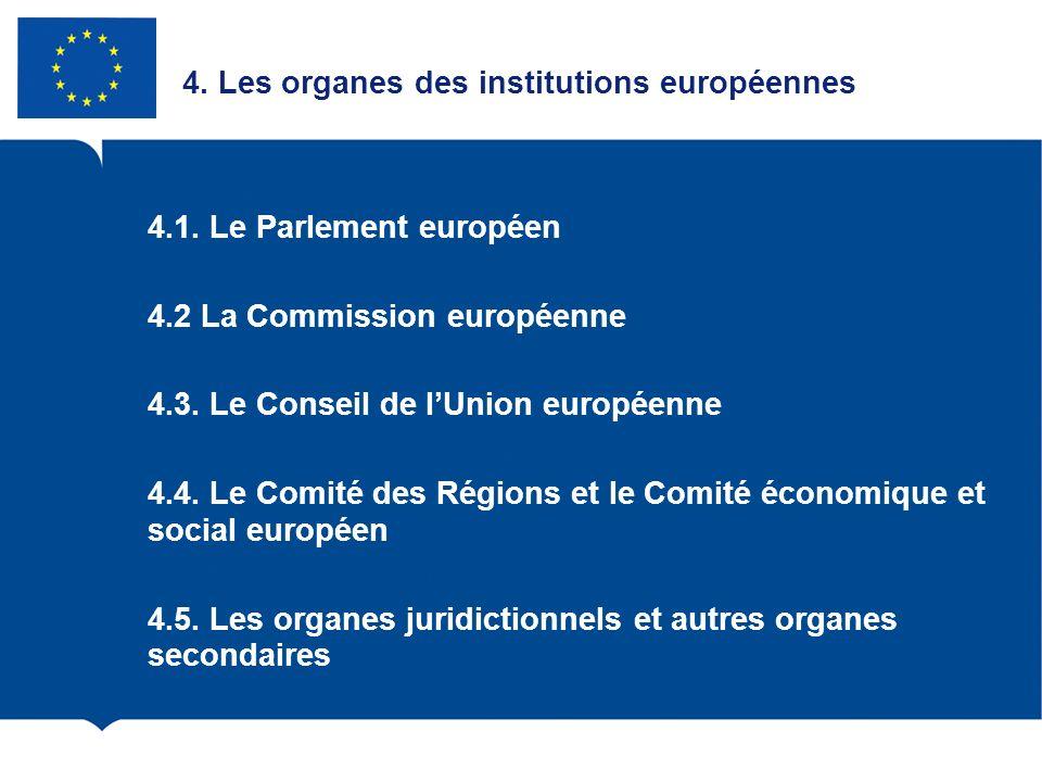 4. Les organes des institutions européennes 4.1. Le Parlement européen 4.2 La Commission européenne 4.3. Le Conseil de lUnion européenne 4.4. Le Comit