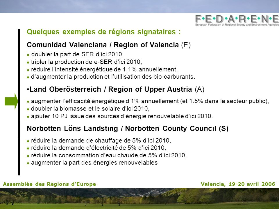 Quelques exemples de régions signataires : Comunidad Valenciana / Region of Valencia (E) doubler la part de SER dici 2010, tripler la production de e-SER dici 2010, réduire lintensité énergétique de 1,1% annuellement, daugmenter la production et lutilisation des bio-carburants.