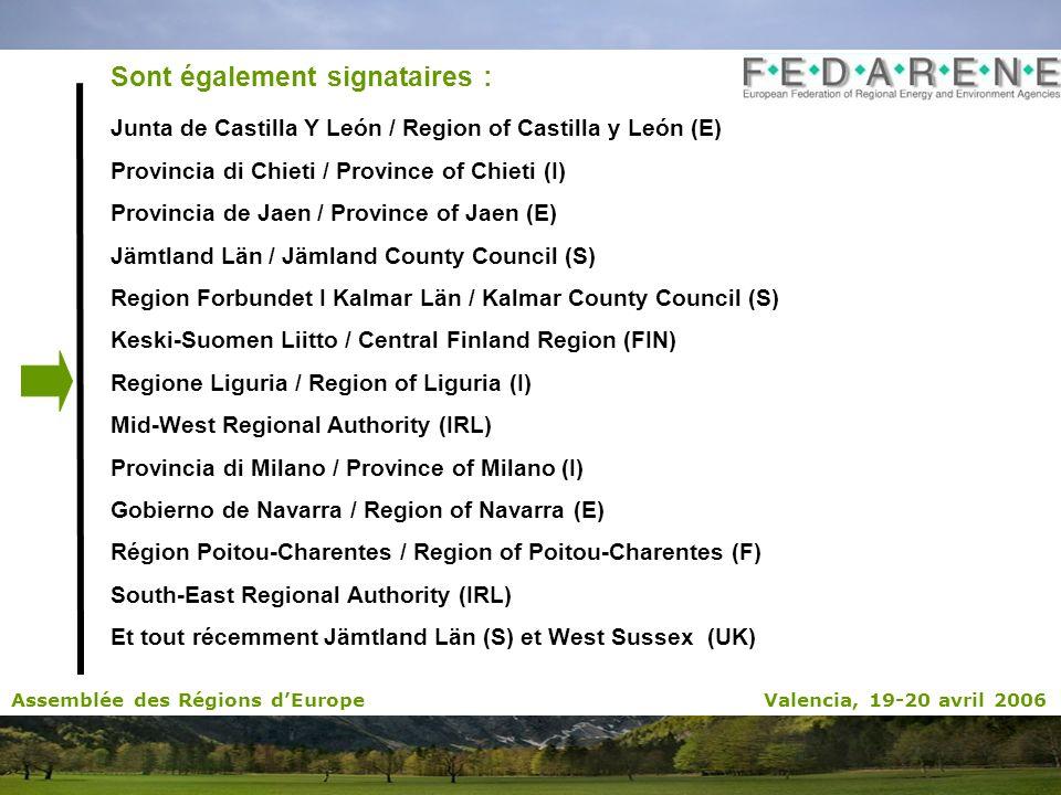 Sont également signataires : Junta de Castilla Y León / Region of Castilla y León (E) Provincia di Chieti / Province of Chieti (I) Provincia de Jaen /