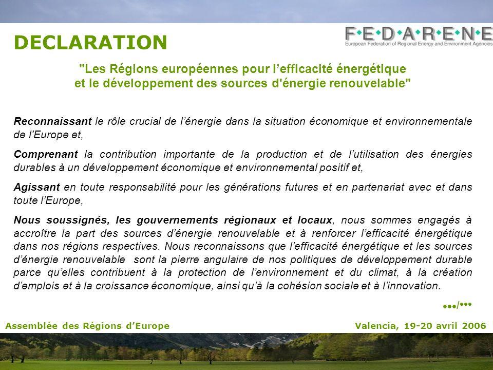 DECLARATION Les Régions européennes pour lefficacité énergétique et le développement des sources d énergie renouvelable Reconnaissant le rôle crucial de lénergie dans la situation économique et environnementale de l Europe et, Comprenant la contribution importante de la production et de lutilisation des énergies durables à un développement économique et environnemental positif et, Agissant en toute responsabilité pour les générations futures et en partenariat avec et dans toute lEurope, Nous soussignés, les gouvernements régionaux et locaux, nous sommes engagés à accroître la part des sources dénergie renouvelable et à renforcer lefficacité énergétique dans nos régions respectives.