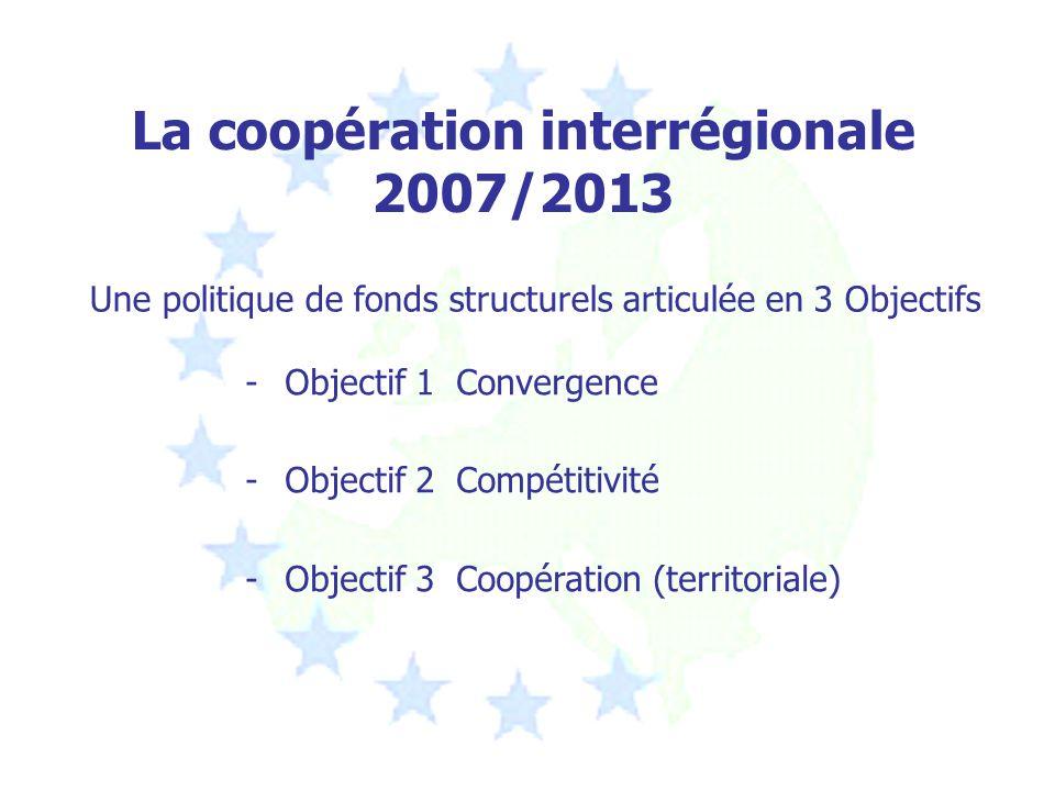 La coopération interrégionale 2007/2013 Une politique de fonds structurels articulée en 3 Objectifs -Objectif 1 Convergence -Objectif 2 Compétitivité