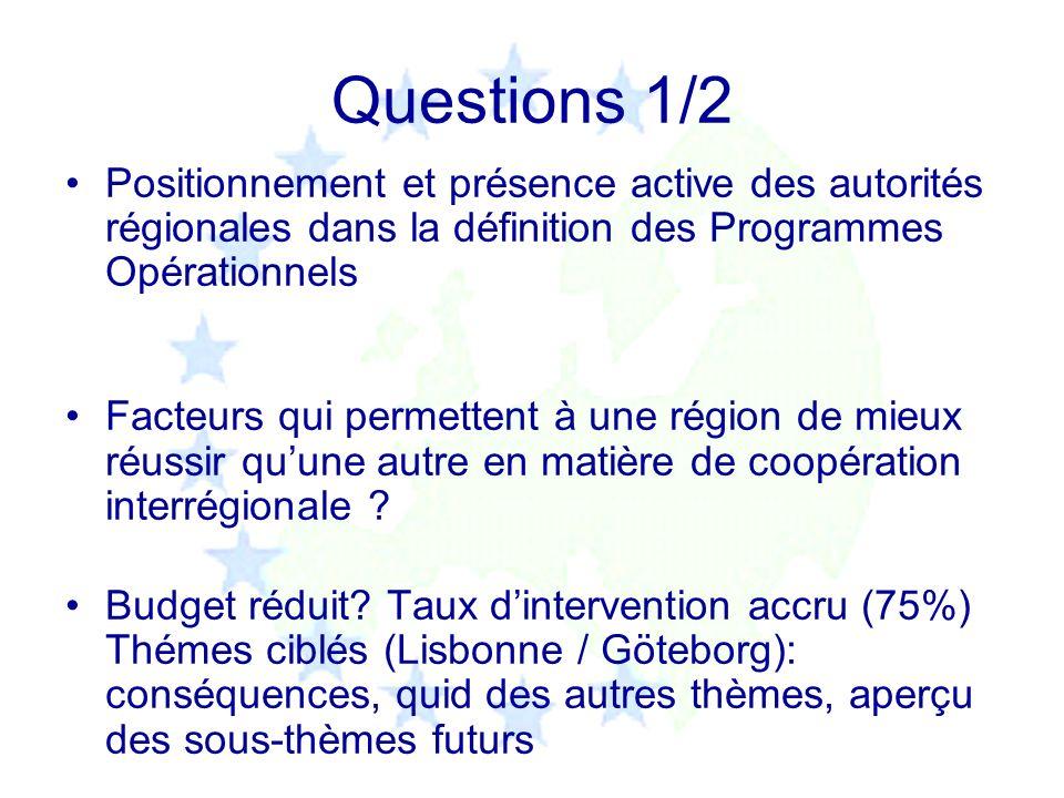 Questions 1/2 Positionnement et présence active des autorités régionales dans la définition des Programmes Opérationnels Facteurs qui permettent à une