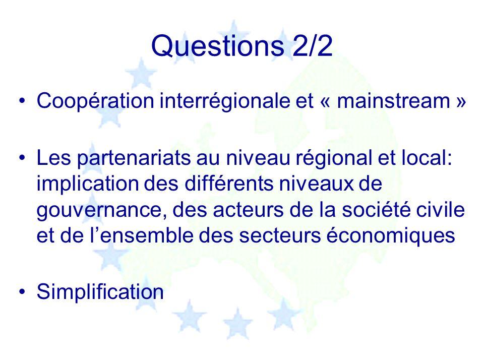 Questions 2/2 Coopération interrégionale et « mainstream » Les partenariats au niveau régional et local: implication des différents niveaux de gouvern