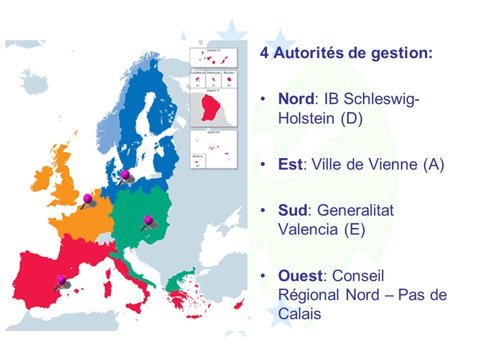 4 Autorités de gestion: Nord: IB Schleswig- Holstein (D) Est: Ville de Vienne (A) Sud: Generalitat Valencia (E) Ouest: Conseil Régional Nord – Pas de