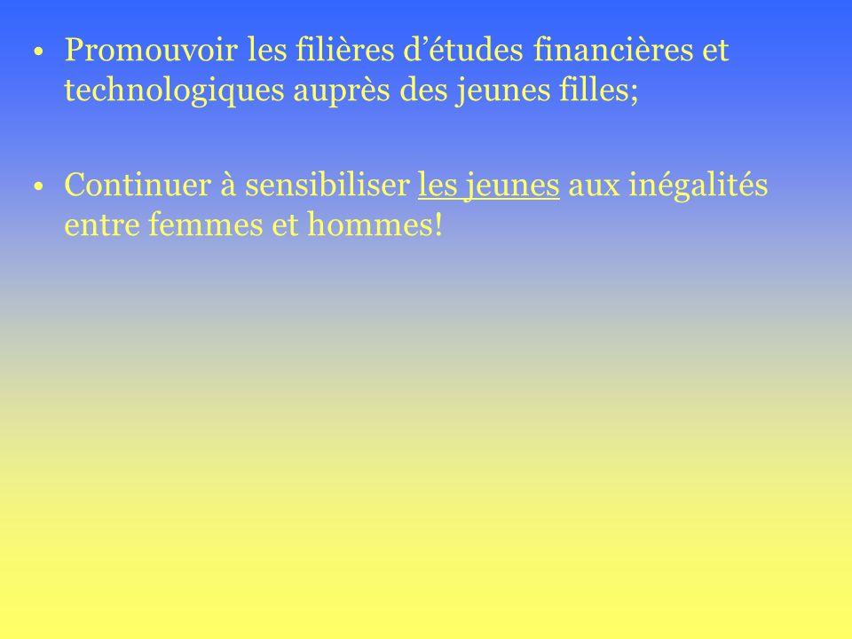 Promouvoir les filières détudes financières et technologiques auprès des jeunes filles; Continuer à sensibiliser les jeunes aux inégalités entre femme