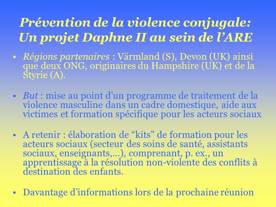 Prévention de la violence conjugale: Un projet Daphne II au sein de lARE Régions partenaires : Värmland (S), Devon (UK) ainsi que deux ONG, originaire