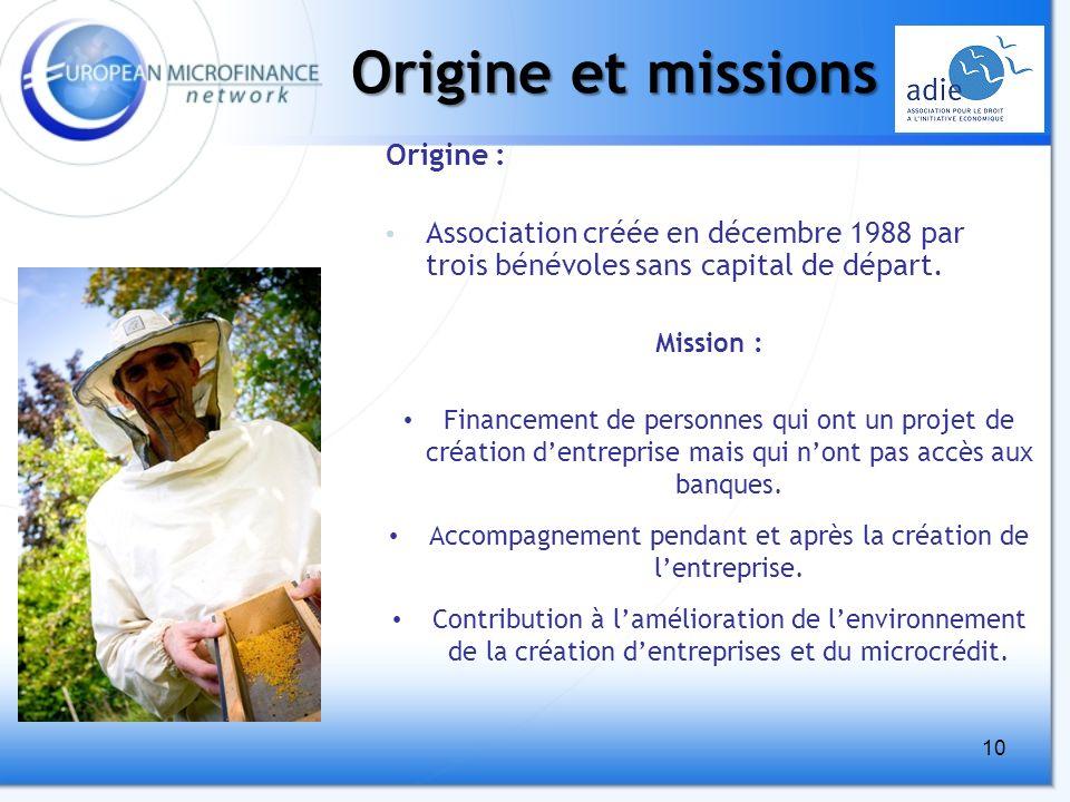 10 Origine et missions Mission : Financement de personnes qui ont un projet de création dentreprise mais qui nont pas accès aux banques.