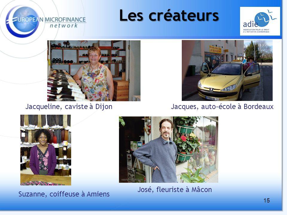 15 Les créateurs Jacqueline, caviste à Dijon José, fleuriste à Mâcon Jacques, auto-école à Bordeaux Suzanne, coiffeuse à Amiens