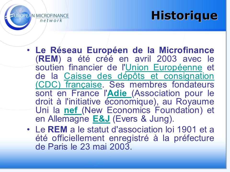 Historique Le Réseau Européen de la Microfinance (REM) a été créé en avril 2003 avec le soutien financier de l Union Européenne et de la Caisse des dépôts et consignation (CDC) française.