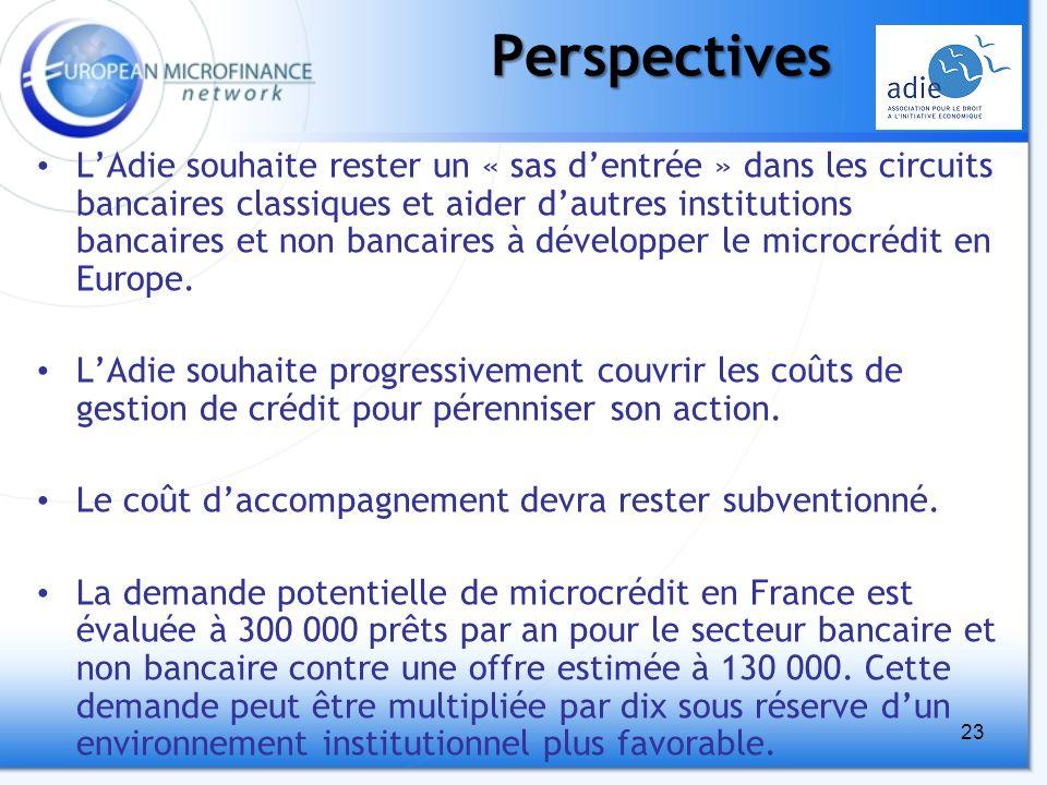 23Perspectives LAdie souhaite rester un « sas dentrée » dans les circuits bancaires classiques et aider dautres institutions bancaires et non bancaires à développer le microcrédit en Europe.