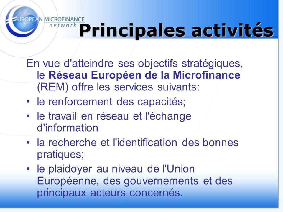 Principales activités En vue d atteindre ses objectifs stratégiques, le Réseau Européen de la Microfinance (REM) offre les services suivants: le renforcement des capacités; le travail en réseau et l échange d information la recherche et l identification des bonnes pratiques; le plaidoyer au niveau de l Union Européenne, des gouvernements et des principaux acteurs concernés.