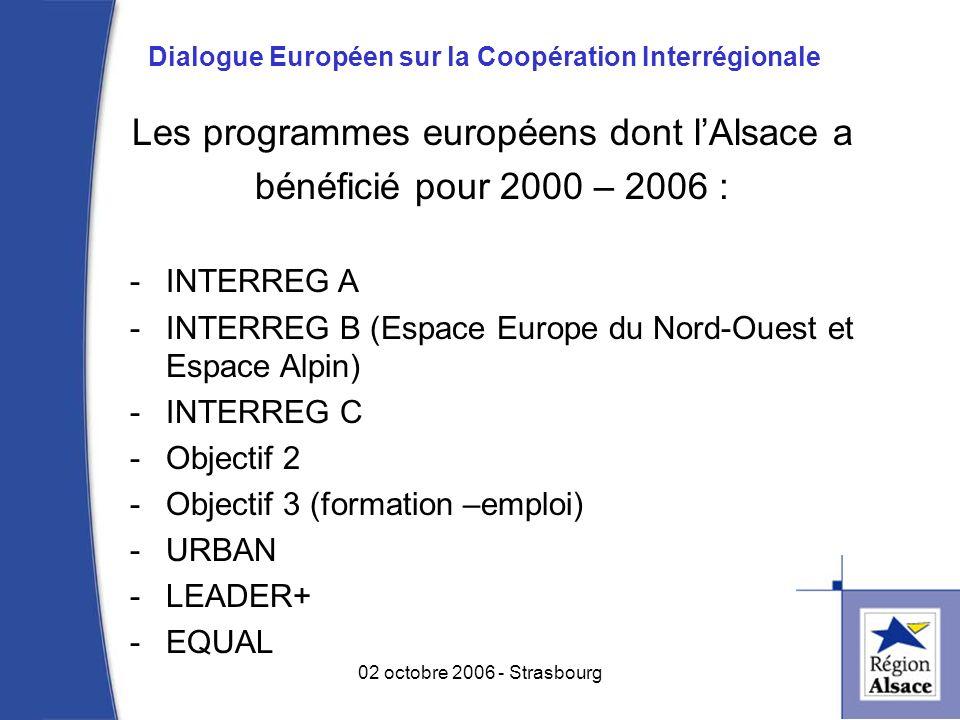 Les programmes européens dont lAlsace a bénéficié pour 2000 – 2006 : -INTERREG A -INTERREG B (Espace Europe du Nord-Ouest et Espace Alpin) -INTERREG C